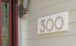 modern house numbers in brushed aluminum