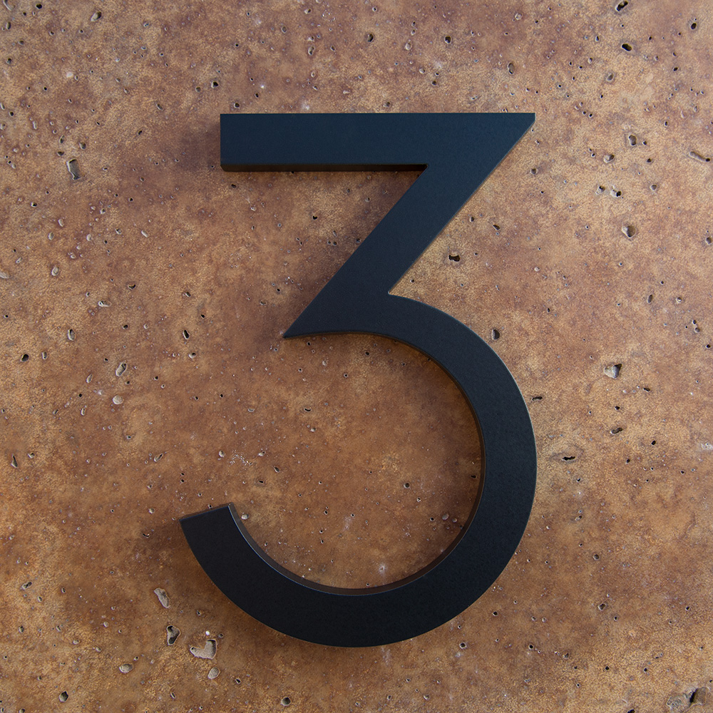 Modern House Numbers 3 In Black