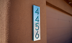 modern house numbers plaque in brushed aluminum turquoise
