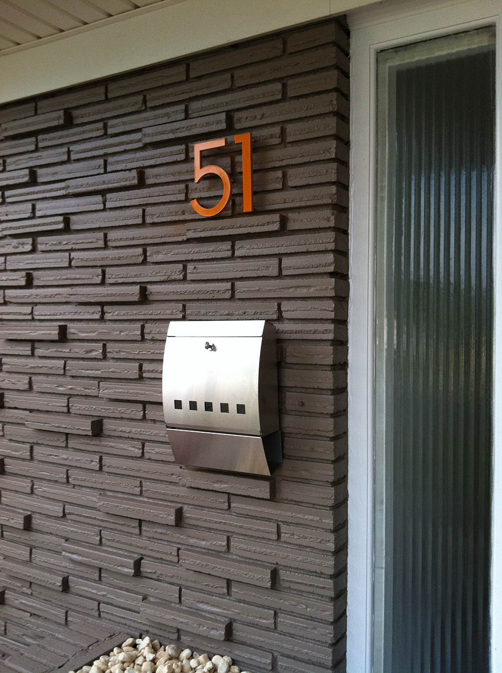 Modern house numbers in orange