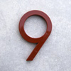 modern house numbers 9 in red