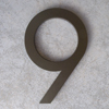 modern house numbers 9 in bronze