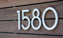 modern house numbers wood siding