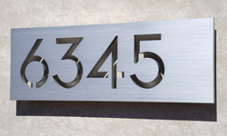 modern house numbers aluminum plaque