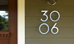 modern house numbers brushed aluminum