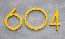 modern house numbers aluminum in yellow