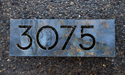 modern house numbers steel address plaque